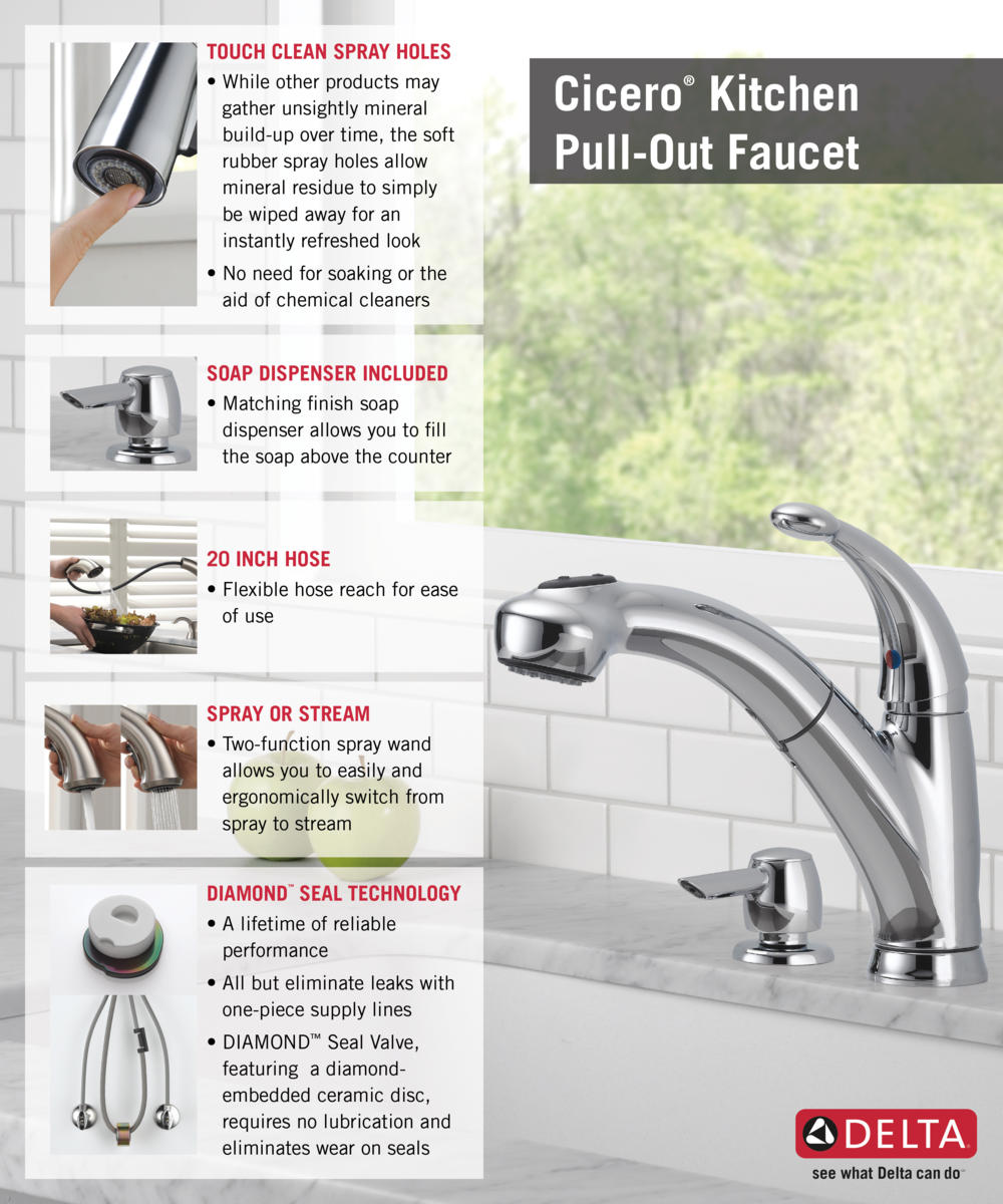 Delta Pull Out Kitchen Faucets delta cicero single-handle pull-out sprayer kitchen faucet with